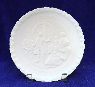 """Fenton~1776-1976~""""Give Me Liberty or Give Me Death"""" Plate #1 ~ 1973 ~White Satin"""