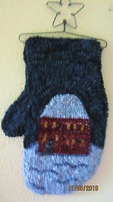 Hand Made Primitive Hooked Rug ~ Winter Mitten Snowy Home with Hanger
