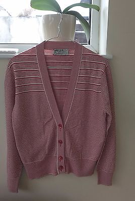 """Ladies Quality *JAEGER* Coral & White Cardigan Size 36"""" 12-14"""