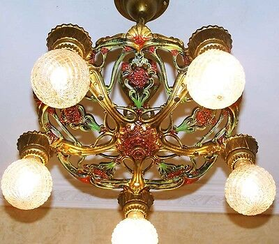 913 Vintage 20s 30s Ceiling Light  aRT deco Nouveau Polychrome Chandelier iron