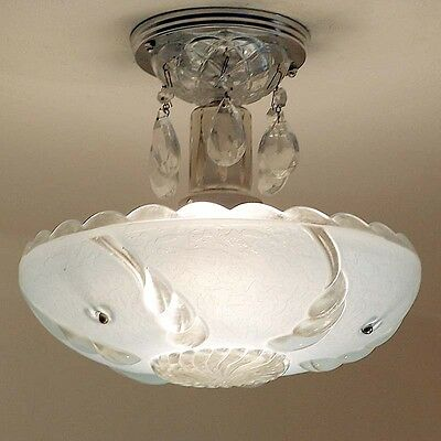 939 Vintage 40s CEILING LIGHT lamp chandelier fixture glass shade BLUE