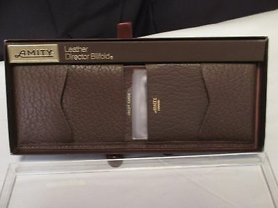 Beautiful Amity Director Wallet Mens Billfold Brown Leather Cowhide NOS