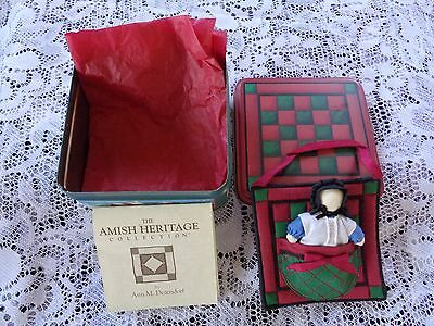 """Amish Heritage Collection """"One Patch Quilt w/Doll"""" by Ann Dezendorf in Tin!!"""