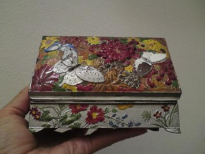 1930s Japanese wood liner metal box coloured relief butterflies flowers signed