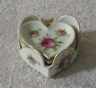 Vintage Lefton Hand Painted Heart Shaped Floral Motif Ashtray with Holder Set