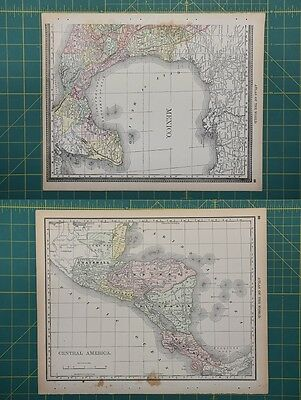 Central America Vintage Original 1892 Rand McNally World Atlas Map Lot