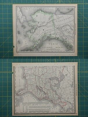 Alaska Vintage Original 1892 Rand McNally World Atlas Map Lot
