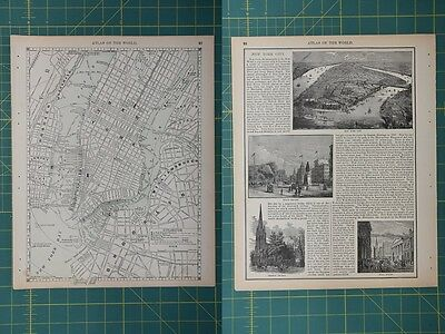 New York City Vintage Original 1892 Rand McNally World Atlas Map Lot