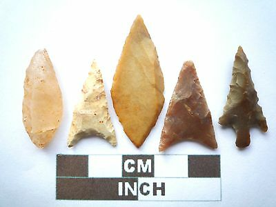 Neolithic Arrowheads x 5, Higher Quality, Genuine Artifacts from 4000BC  (V036)