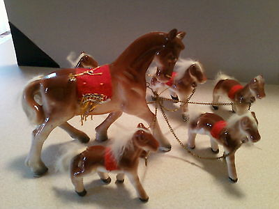 Vintage Set Of Horses ~ 1  Mare With 5 Foals On Chains ~ Made In Japan