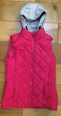 Youth Dimension 7 8 Years Age Hot Pink Quilted Hooded Body Warmer Gilet Winter