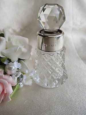 Antique Sterling Silver &  Crystal Perfume Bottle Birmingham 1904