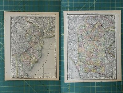 New Jersey Pennsylvania Vintage Original 1892 Rand McNally World Atlas Map Lot