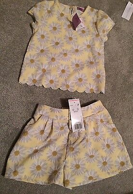 BNWT Girls Shorts & Top tshirt outfit Jump Suit age 2-3 Yellow Floral Daisy F&F