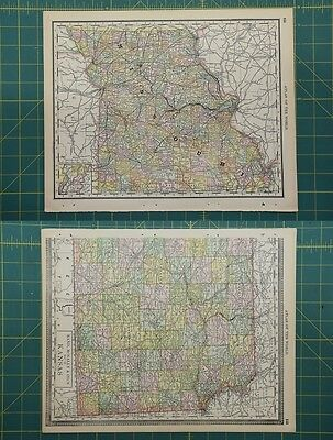 Missouri Vintage Original 1892 Rand McNally World Atlas Map Lot