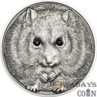 Mongolia 2015 500 Togrog Wildlife Protection Campbell's Hamster 1 Oz Silver Coin