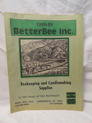 Bees Beekeeping & Candlemaking Catalog BETTERBEE INC Greenwich, NY 1988-89