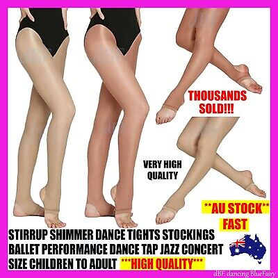 Stirrup Shimmer Tights Tight Dance Stockings Ballet Jazz Tap Size Child To Adult