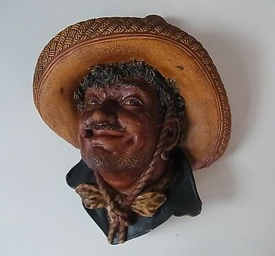 "SUPER BOSSONS HEAD 3D WALL PLAQUE ""PANCHO"" - 8"" Tall x 6 3/4"" Wide, VGC"