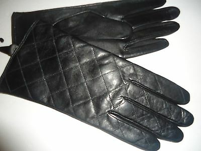 Ladies Women's Quilted Genuine Leather Gloves ,XL, Black