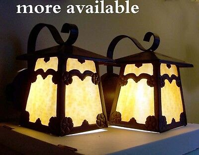 917 1910 - 20s ArT's & Crafts Mission Lantern Wall Sconce Fixture pair 2 of 6