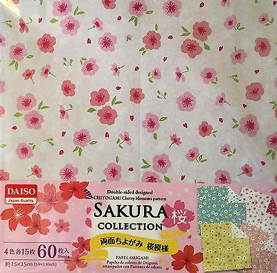 JAPANESE ORIGAMI CRAFT PAPER Double-Sided 60 Sheets 4 Patterns Sakura Moyou