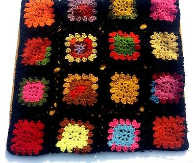 Knitted Granny Square Hand Made Pillowcase Pillow Sham Vintage Black