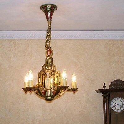 897 Vintage 20s 30s Ceiling Light  aRT deco Nouveau Polychrome Chandelier