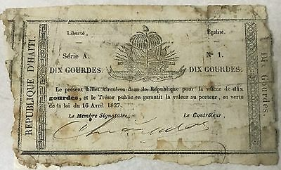 Haiti 10 Gourdes banknote P-20, circulated, 1827 2nd issue, SCARCE