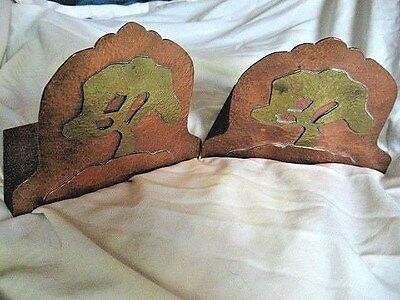 Antique Mission Arts & Crafts Era Hand Hammered Copper & Brass TREE Book Ends