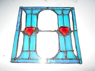 """STAINED GLASS WINDOW PANEL SUNCATCHER LETTER """"H""""with or without hangers"""