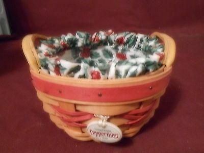 Nice1999 Longaberger Small Peppermint Tree Trimming Basket-Holly Liner/ Plastic