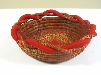 Handcrafted Pine Needle Red Twisted Rope Round Basket