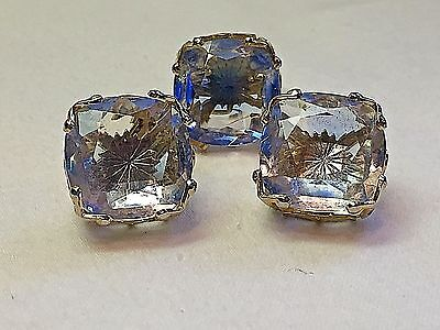 Vtg Emmons Ice Blue Star Gold Plated Cut Glass Ring and Earrings Set