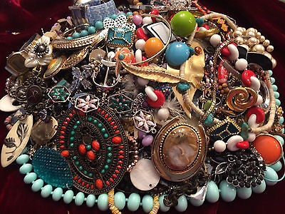 6 lbs Plus of Broken - Jewelry Parts Pieces Crafts Repair Vintage to Now Lot #80