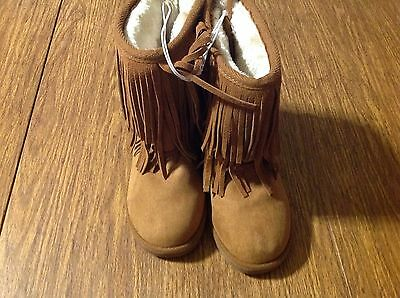 Girls JUSTICE Cow Suede Fringe Cozy Winter Boots Size 2 Camel ����������