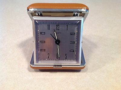 Vintage Retro Wind-Up Equity Travel Alarm Clock Built in Case