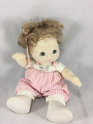 VINTAGE MY CHILD DOLL  MATTEL Green Hazel Eyes Blond Hair Pink Jumpers Coverall