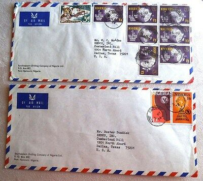 Postal History, 2 Commercial Covers, Nigeria, Oil Industry, 1972-73, Excellent