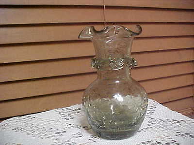 Lovely Piece Hand Blown Crackle Glass Vase, Emblished Around Neck, Ruffled Top