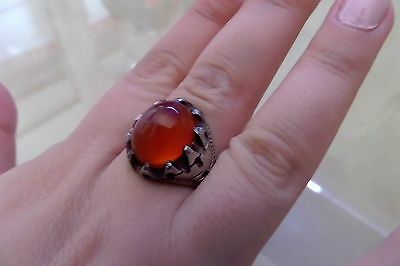 Vintage Persian Sterling Silver Men Natural Agate Ring