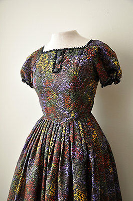 """Vintage 50's Gay Gibson Floral Cotton Day Dress sz. XS 24"""" Waist 1950s"""