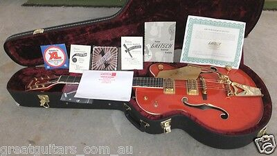 2012 GRETSCH 6120 Chet Atkins Electric acoustic guitar and case. Orange w. Gold.