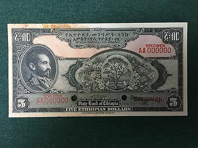 Ethiopia 5 Dollars One-Sided FACE SPECIMEN Security Banknote Co S217330