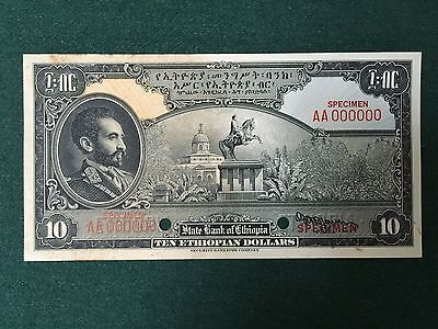 Ethiopia 10 Dollars One-Sided FACE SPECIMEN Security Banknote Co S235340