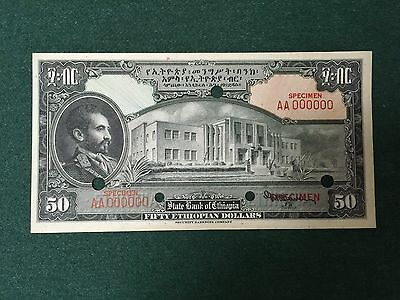 Ethiopia 50 Dollars One-Sided FACE SPECIMEN Security Banknote Co S217754