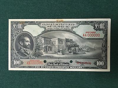 Ethiopia 100 Dollars One-Sided FACE SPECIMEN Security Banknote Co S218259