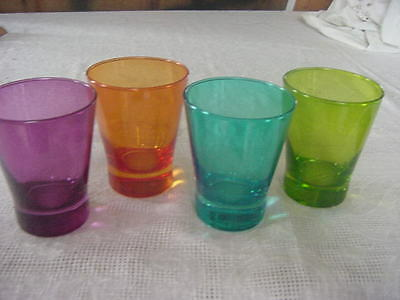 Retro Colorful glass tumblers hand blown