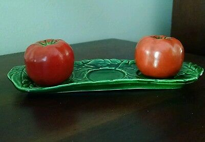 Vintage Maruhon Ware Japan tomato salt and pepper shaker with Tray