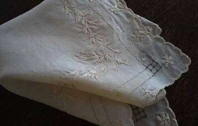 Antique Pure Silk Hanky Embroidered Flowers Ecru Wedding